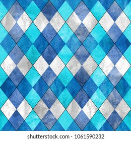 Argyle seamless plaid pattern. Watercolor hand drawn gray blue teal turquoise texture background. Watercolour diamond shapes background. Print for cloth, textile, fabric, wallpaper, wrapping, tile