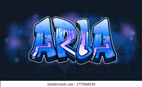 Aria. A cool Graffiti styled logotype design. Legible letters aimed for a wide range audience of all ages.