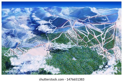 Ariel view of mountains, clouds and ski trails back distant enough to see the curve of the earch