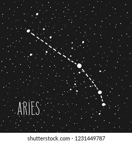 Aries - hand drawn Zodiac sign constellation in white over black starry night sky. Astrology illustration. Western horoscope mystic symbol.