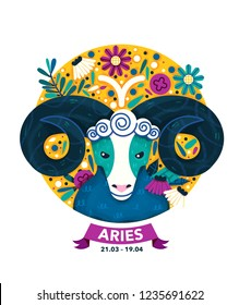 Aries Zodiac Sign Icon. Astrology Modern Label