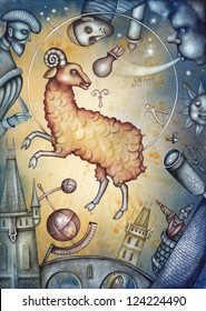 Aries. Zodiac sign, symbol in watercolor style. Part of a set ot 12. Illustration by Eugene Ivanov.