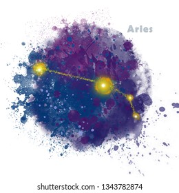 Aries Zodiac Sign with Watercolor Textured Stain. Glowing Star Constellation on Dark Sky.