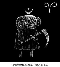 Aries zodiacal symbol. Astrology, horoscope sign, Zodiac character
