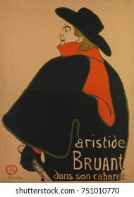 Aristide Bruant, at His Cabaret, by Henri de Toulouse-Lautrec, 1893, French Post-Impressionist print. Lautrec made this lithographic poster to promote performances of singer Aristide Bruant at up-scal