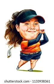 Ariya Jutanugarn is a Thai professional golfer. Illustration,Caricature,Design,July,14,2018