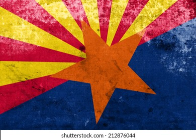 Arizona State Flag with a vintage and old look