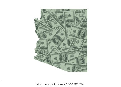 Arizona State Map and Money Concept, Hundred Dollar Bills