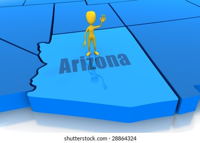 Arizona state outline with yellow stick figure