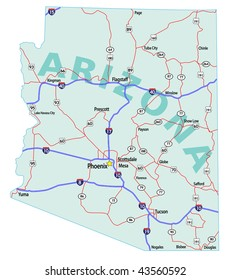 Arizona state road map with Interstates, U.S. Highways and state roads. Raster. Vector (EPS-8) version available in my portfolio.