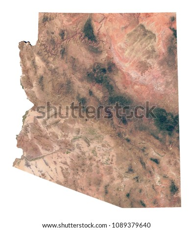 Satellite Map Of Arizona.Arizona State Satellite Image Isolated On Stock Illustration