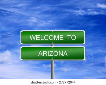Arizona welcome US state vacation landscape USA sign travel.