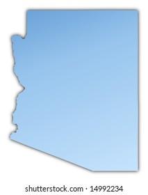 Arizona(USA) map light blue map with shadow. High resolution. Mercator projection.