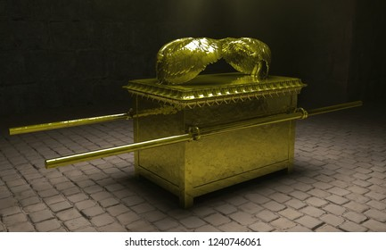 The Ark of the Covenant. A 3D rendering of the Ark of the Covenant, also known as the Ark of Testimony. Set in an old dusty temple room with light rays emanating from above.