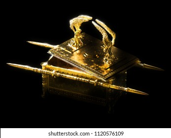 ark of the covenant with the lid open on a dark background / 3D illustration