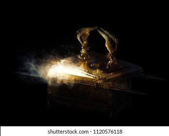 ark of the covenant with its lid open and smoke coming out on a dark background / 3D illustration