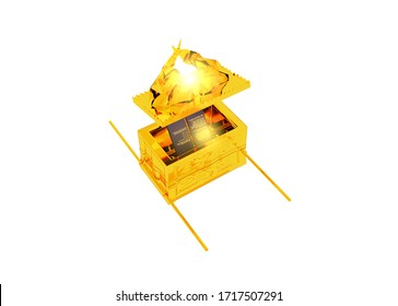 Ark of the covenant and Mercy Seat open of the Bible sanctuary 3d rendering religious illustration