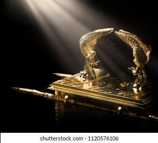 ark of the covenant on a dark background with light rays/ 3D illustration