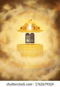 The Ark of the Covenant opened, showing the Ten Commandments, mercy seat above and Shekinah. Exodus Old Testament, Revelation 11 prophecy. 3d rendering, religious illustration imagery
