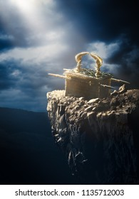 Ark of the covenant at the top of a mountain/ 3D Rendering