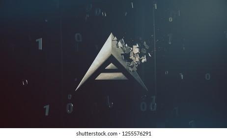 Ark cryptocurrency crushing logo 3d illustration
