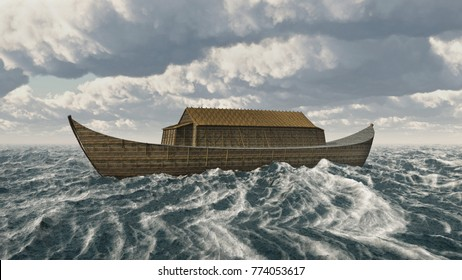 The Ark of Noah in the stormy sea Computer generated 3D illustration