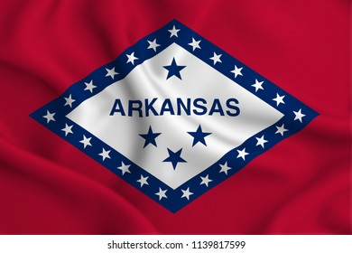 Arkansas 3D waving flag illustration. Texture can be used as background.