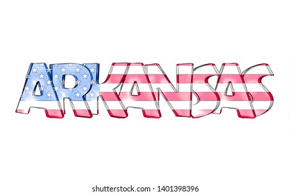Arkansas. Isolated USA state names with white background