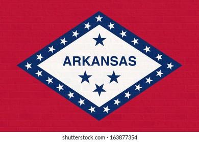 Arkansas state flag of America, isolated on white background.