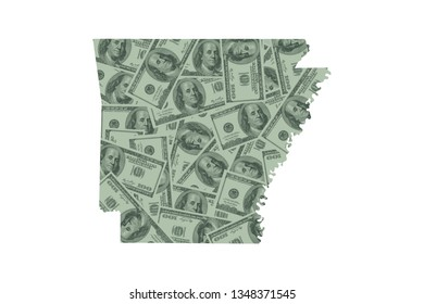 Arkansas State Map and Money Concept, Hundred Dollar Bills