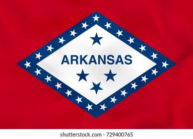 Arkansas waving flag. Arkansas state flag background texture. Raster copy.