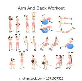 Arm and back workout for women with dumbbell, fitness ball and barbell. Sport exercise for muscle building. Fitness training. Isolated  illustration