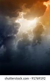 Armageddon background - dramatic dark sky, bright sun. Mayan apocalypse 2012, Nostradamus armageddon 2012, armageddon bible