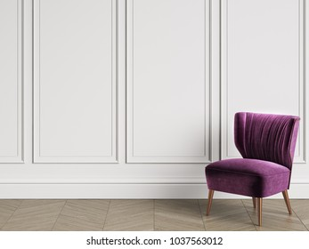 Armchair in art deco style in classic interior with copy space.White walls with mouldings. Floor parquet herringbone.Digital Illustration.3d rendering