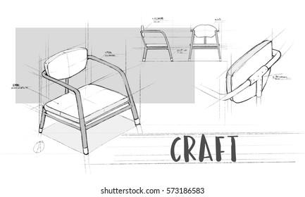 Incroyable Armchair Furniture Sketch Plan Draft