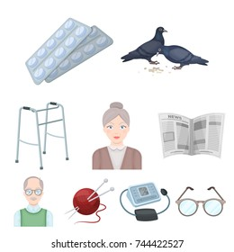 Armchair, slippers, tonometer and other attributes of old age.Old age set collection icons in cartoon style bitmap symbol stock illustration web.