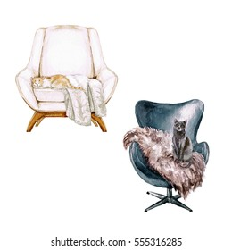 Armchair with throw and cat - Watercolor Illustration.