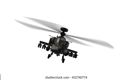armed army Apache attack helicopter in flight isolated on white - 3d rendering