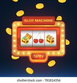 Armed bandit, game machine in casino with different isolated pictures. Open and closed chest with treasures and cherry. Casino slot machine for gambling game illustration