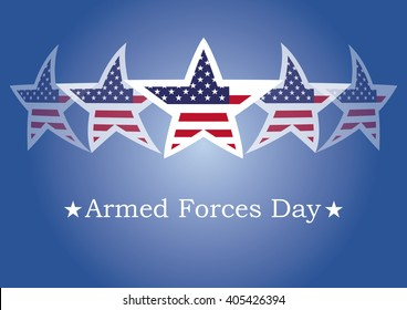 Armed Forces Day. Background with American flag. Festive illustration. Blue background with American stars