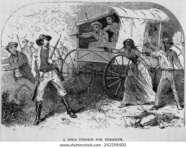 Armed fugitive slave family defending themselves against slave catchers from William Still's history, UNDERGROUND RAILROAD (1872).
