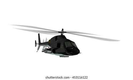 armed helicopter in flight isolated on white - 3d rendering