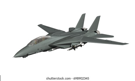 armed military fighter jet in flight - isolated on white - 3d render