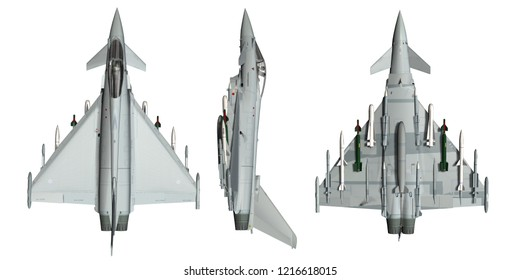 armed military fighter jet template  - realistic 3d render