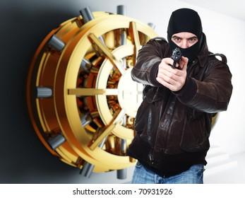 armed thief and bank golden vault door 3d