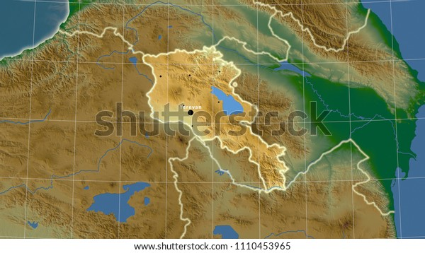 Armenia Area Map Azimuthal Equidistant Projection Stock ...