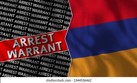Armenia and Arrest Warrant Titles Flag Together - 3D illustration Fabric Texture