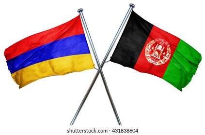 Armenia flag with Afghanistan flag, 3D rendering