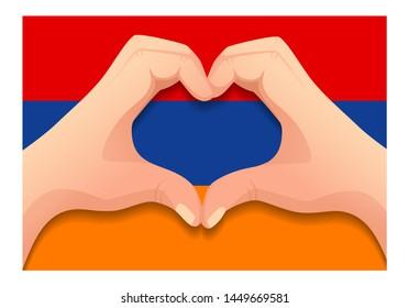 Armenia flag and hand heart shape. Patriotic background. National flag of Armenia  illustration