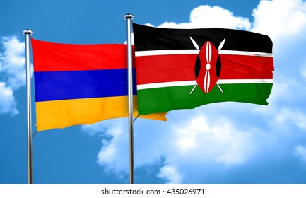 Armenia flag with Kenya flag, 3D rendering